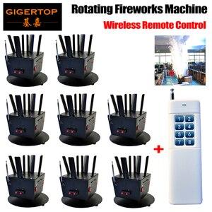 Freeshippign 8pcs/lot 6 heads rotating fireworks machine with one piece remote controller wireless signal inside machine AC12V firework video machine foammachine weft human hair -