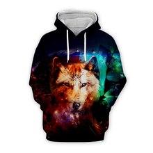 Unisex mens Galaxy space wolf 3d hoodies streetwear men women animal printing sweatshirts autumn long sleeve zipper hooded coat
