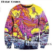 PLstar Cosmos Free Shipping 2017 New Fashion Cartoon Sweatshirts Men Women 3d Print Rick And Morty