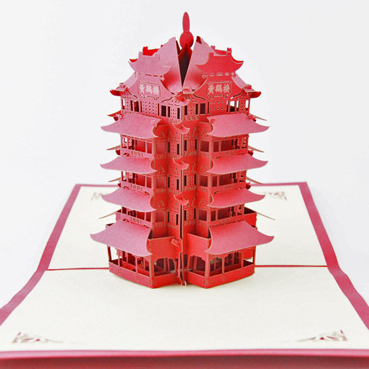 Cubic life 3D Wuhan Yellow Crane Tower tourism building creative handmade paper card stereo cards
