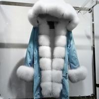 MaoMaoKong Real Fur Coat Women Winter Thick Warm Large Natural Fox Fur Hood Parka Jacket Detachable