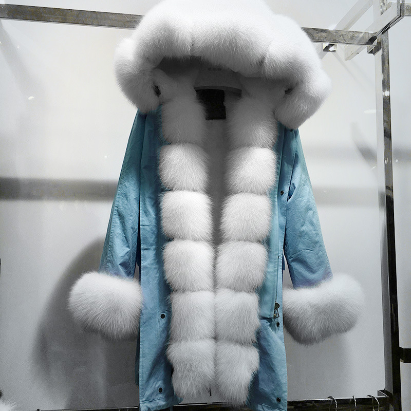 MaoMaoKong Real Fur Coat Women Winter Thick Warm Large Natural Fox Fur Hood   Parka   Jacket Detachable rabbit Fur Liner Jacket Coat