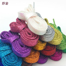 wholesale 100 pairs new fashion sneakers Shoe laces Multi – color gold and silver thread men's & women 's shoelaces