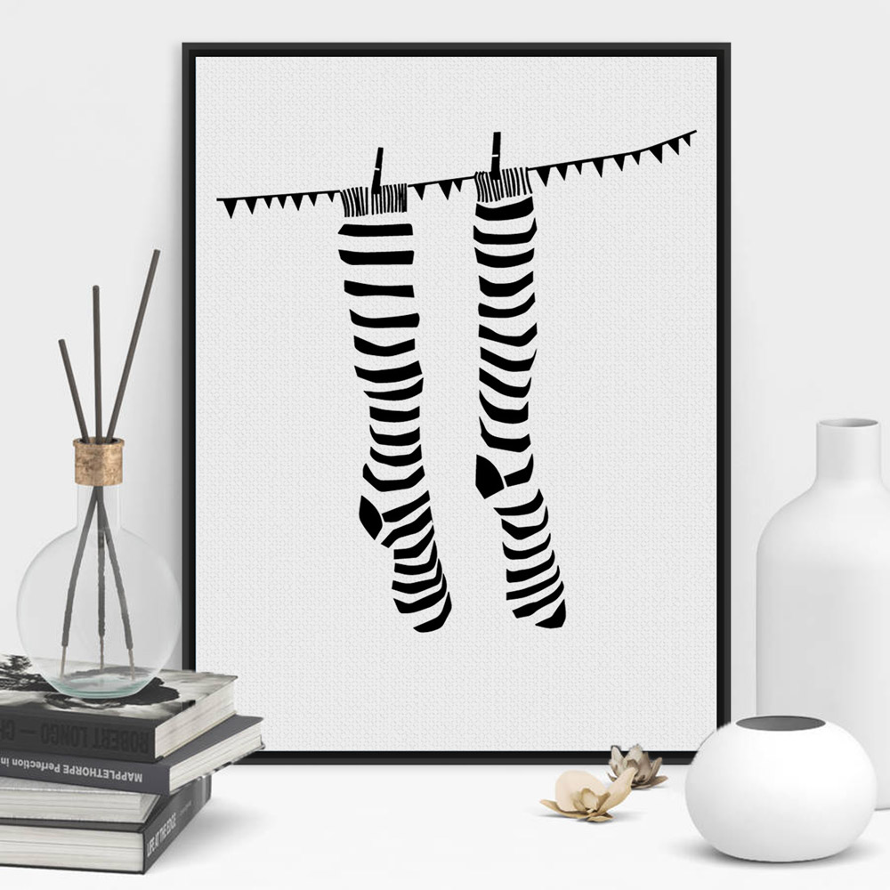 Modern Black White Minimalist Abstract Socks A4 Poster Prints Large Hipster Canvas Painting No Frame Home Wall Art Decor Gifts