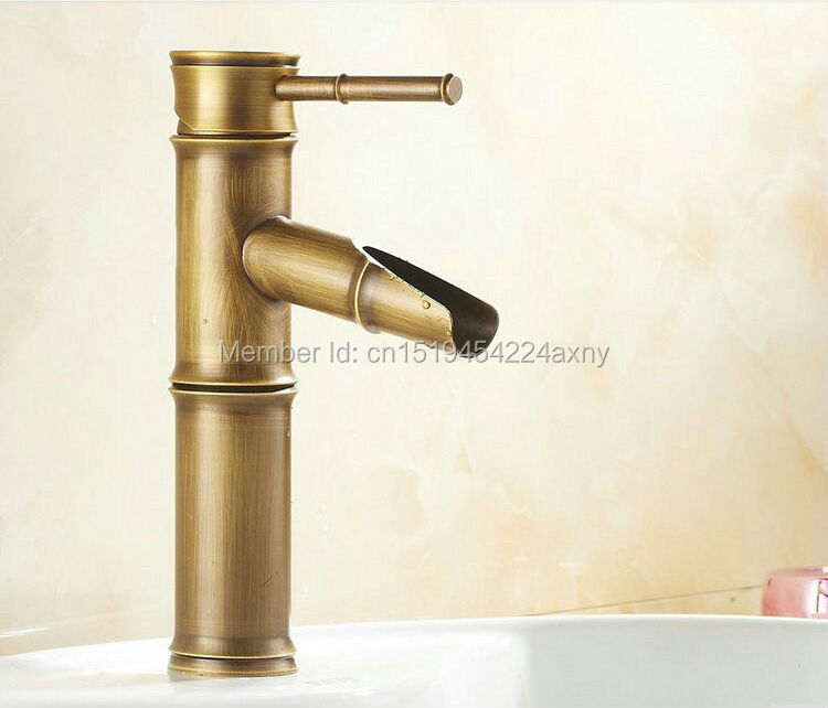 Free Shipping 8 Bamboo Shape Single Handle Antique Brass Bathroom Bain Sink Faucet Waterfall Spout Vanity Mixer Tap GI34