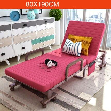 Simple Modern Folding Single Bed Office Living Room Balcony Lazy Noon Break Folding Bed Soft Cotton Fabirc Adjustable Sofa Bed - 2