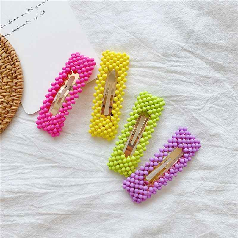 Hot Korea Candy Color Hollow Geometric Rectangle Waterdrop Hair Clips For Women Handmade Braided Acrylic Beads Hair Accessories