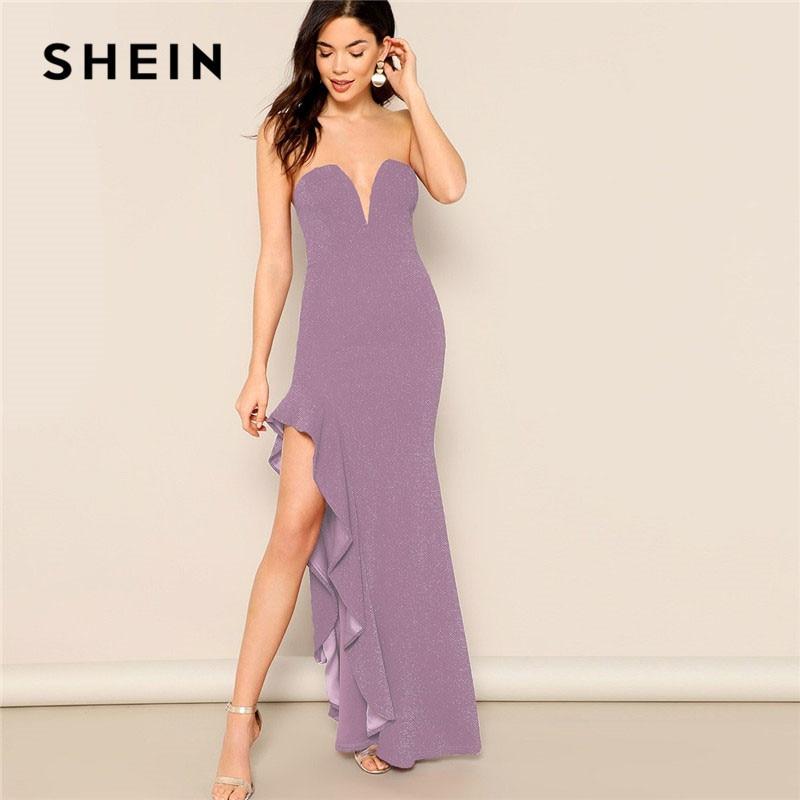 SHEIN фиолетовые Асимметричные оборки, подол, блестящая трубка, оболочка, v-образный вырез, макси платье без рукавов, женские летние сексуальны...