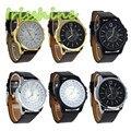 Irissshine #0112 men watch Men's Luxury Analog Sport Steel Case Quartz Date Leather Wrist Watch relogio feminino
