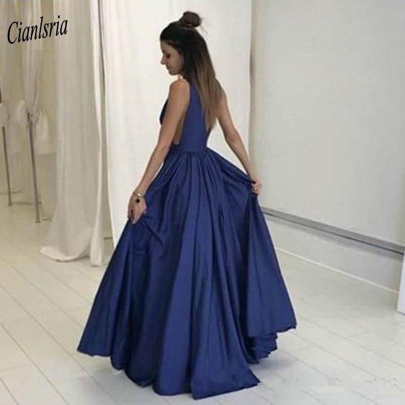 Sexy profundo decote em v azul marinho vestidos de noite longos 2019 sem mangas simples formal festa vestido - 2