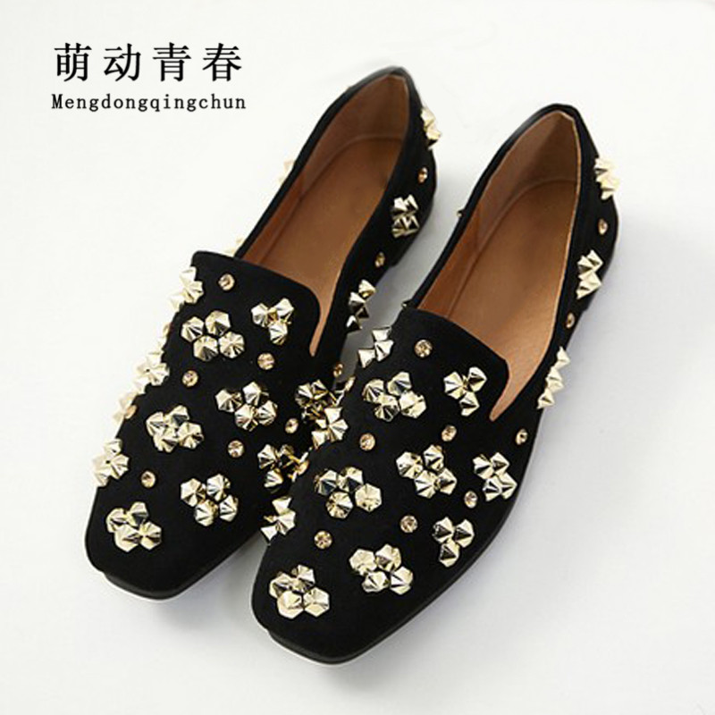 2018 New Spring Women Flats Squaire Toe Solid Casual Shoes Flat Heels Fashion Rivet Shallow Four Season Four color Women Flats women flats casual shoes 2017 summer sandals pointed toe fashion shallow rivet flower flat shoes woman loafers cool comfortable