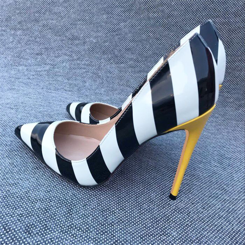 bf78666f73 Women Pumps White Black Yellow Strip Sexy Woman High Heel 12 cm Stilettos  Party Brand Designer Shoes Pointed Toe QP056 ROVICIYA-in Women's Pumps from  Shoes ...