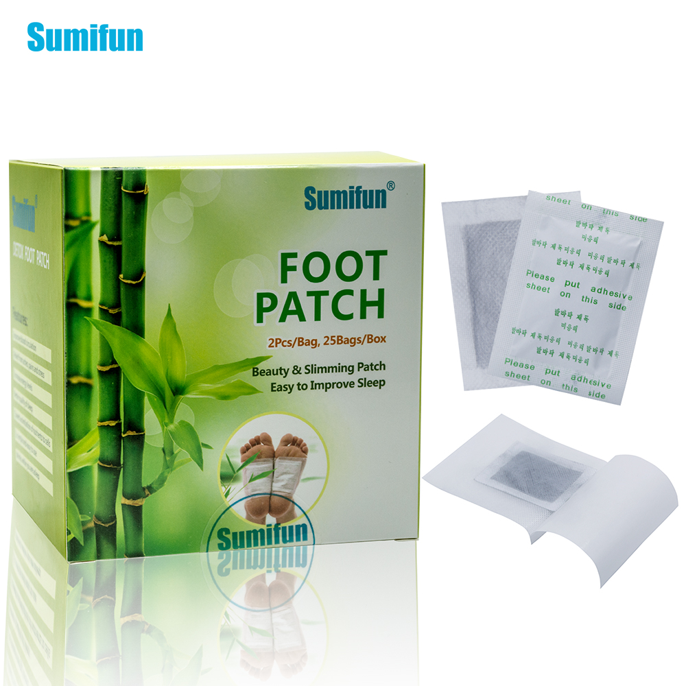 Sumifun 50pcs Patches+50pcs Adhesives Kinoki Detox Foot Patches Pads Body Toxins Feet Slimming Cleansing Herbal Adhesive K02401