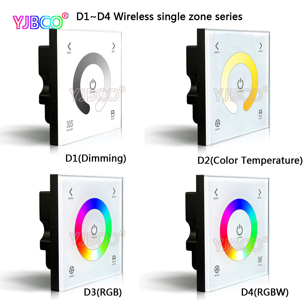 New arrival D1/D2/D3/D4 touch panel wall mounted glass LED dimmer controller for 5050 2835 RGB LED strip lamps, DC12-24V dc12 24v 16a 4a ch black wall mounted rgb touch panel led controller touch panel rgb full color led controller