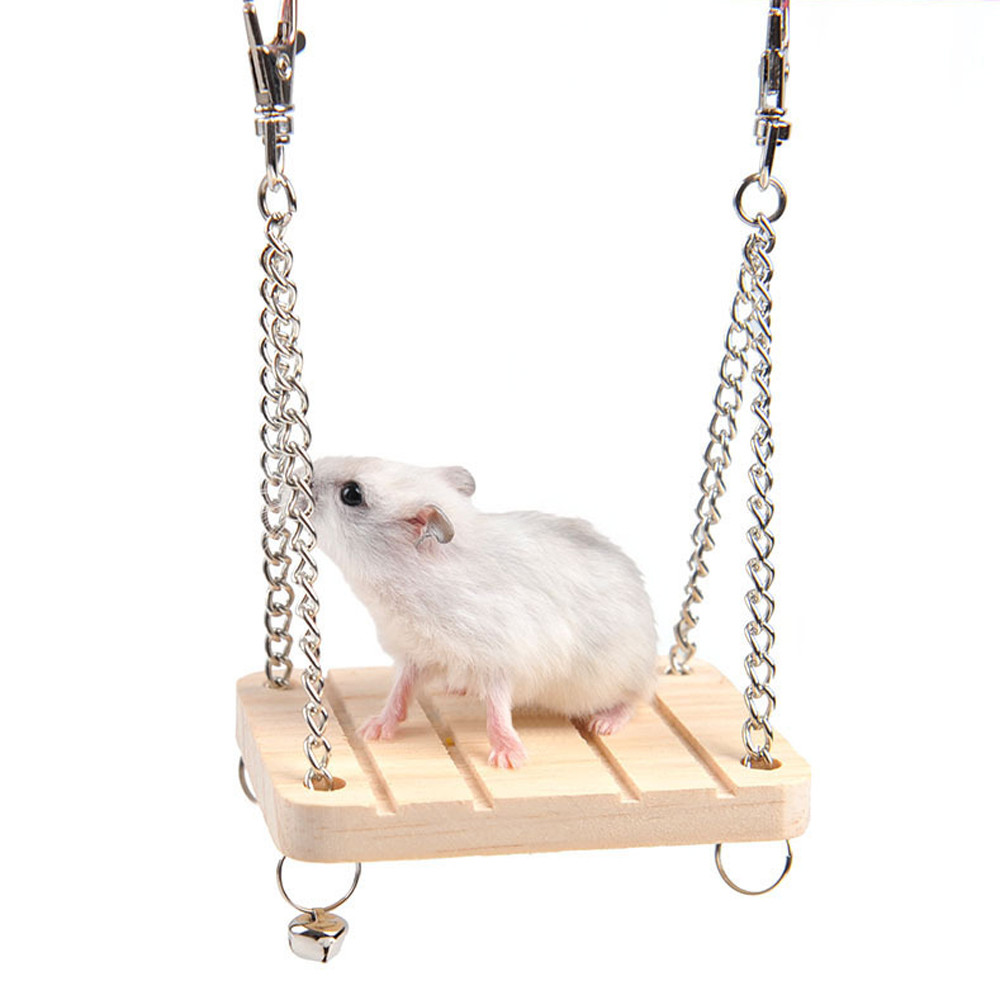 Pet Toys Hamster Mouse Wood Swing Hammock Play Toys Small Animal Cage Hanging Seesaw Interactive Supplies Puppy A#