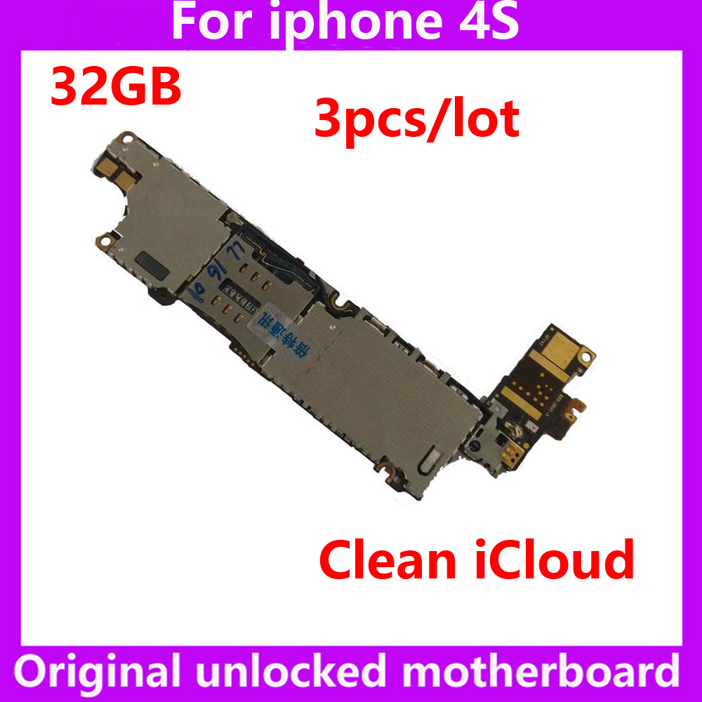 3pcslot free shipping 32GB original IOS system logic mainboard for iphone 4S 100% unlocked no iCloud motherboard phone curcuits