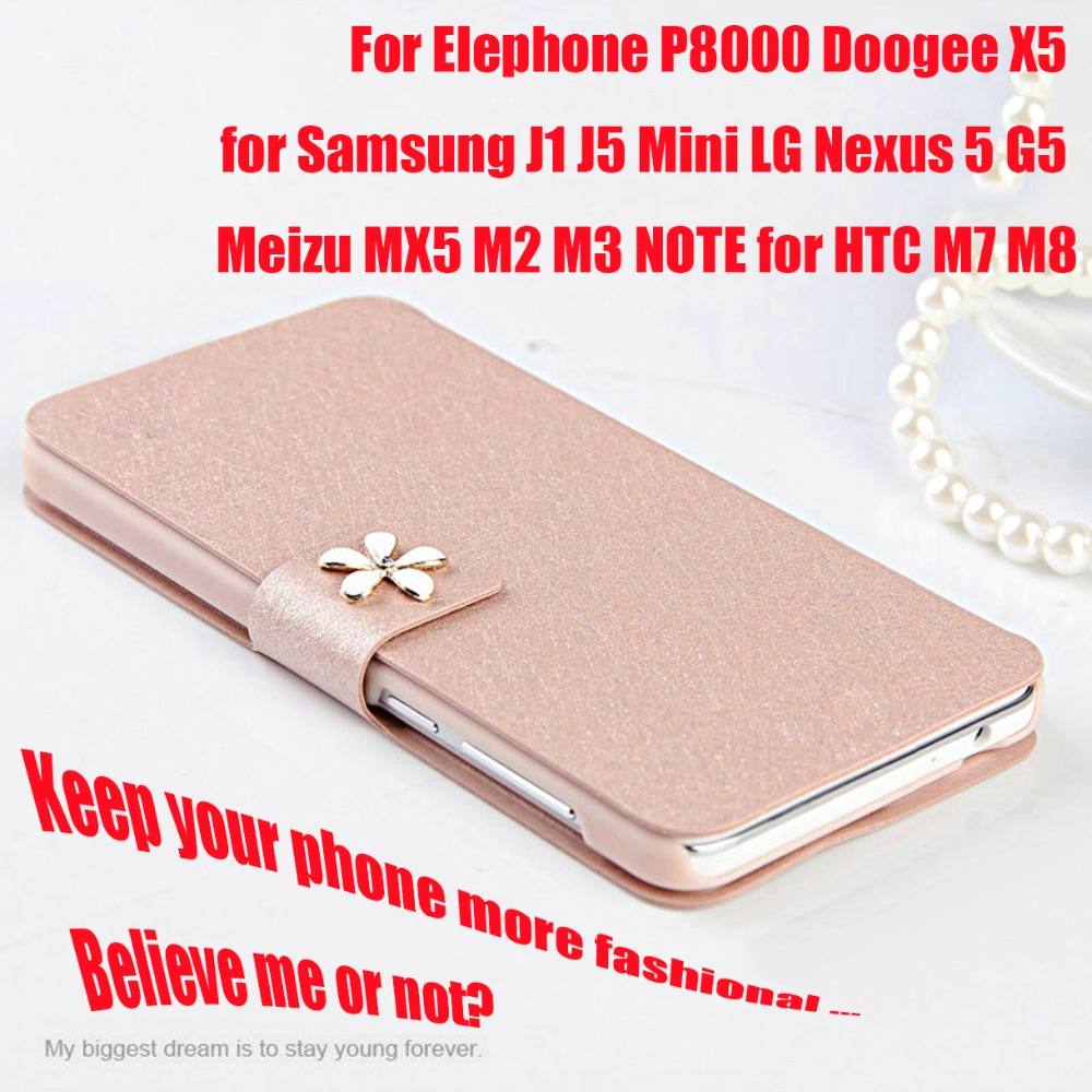 Leather Flip Phone Cover Case Elephone P8000 Doogee X5 for Samsung J1 J5 Mini LG Nexus 5 G5 Meizu MX5 M2 M3 NOTE for HTC M7 M8