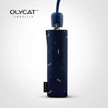 OLYCAT 自動傘雨女性抗 UV 折りたたみ日傘女の子ブランド小麦パターンレース傘防風 8 18K パラソル