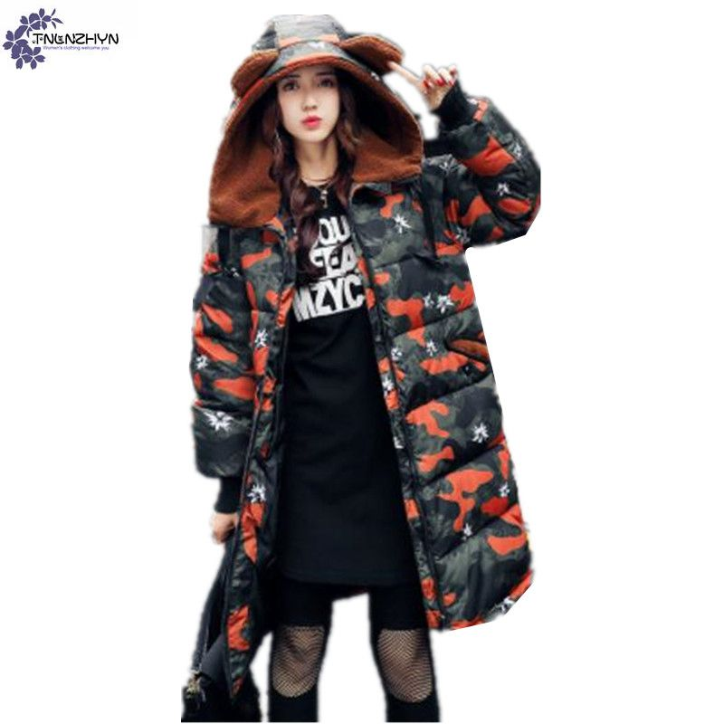 TNLNZHYN 2017 winter new Women cotton coat fashion leisure thickening warm hooded loose large size female cotton Outerwear TT811 winter cotton outerwear female slim long section coat women cotton leisure hooded fur collar large size women coat okxgnz qq943