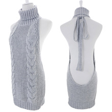 European and American Women High-necked Backless Sweater Babydoll Uniform Temptation Sexy Lingerie Sleeveless Erotic Costumes