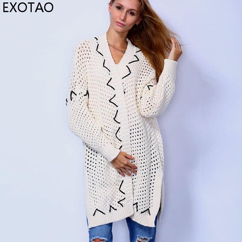 Lange Trui Zwart.Exotao Fashion Hollow Vrouwen Vest Contrast Kleur Oversized Lange