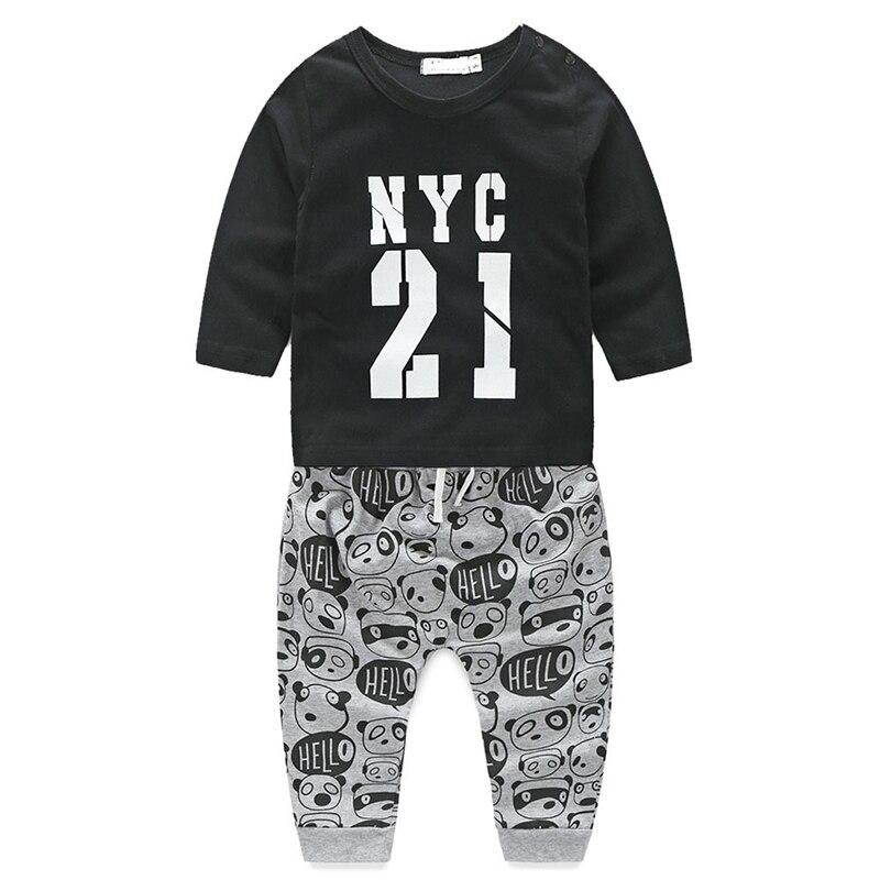 Autumn 2017 Baby Boy Children Clothing Sets Cotton Long Sleeve T-shirt Tops+Pants Fashion Boys Clothes Set Infant Suit 2 Pcs cc handisyde handisyde everyday details pr only t