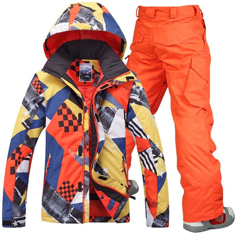 GSOU neige Ski costumes ensemble hommes veste Snowboard Ski vestes pantalon sport imperméable coupe-vent respirant neige ensembles