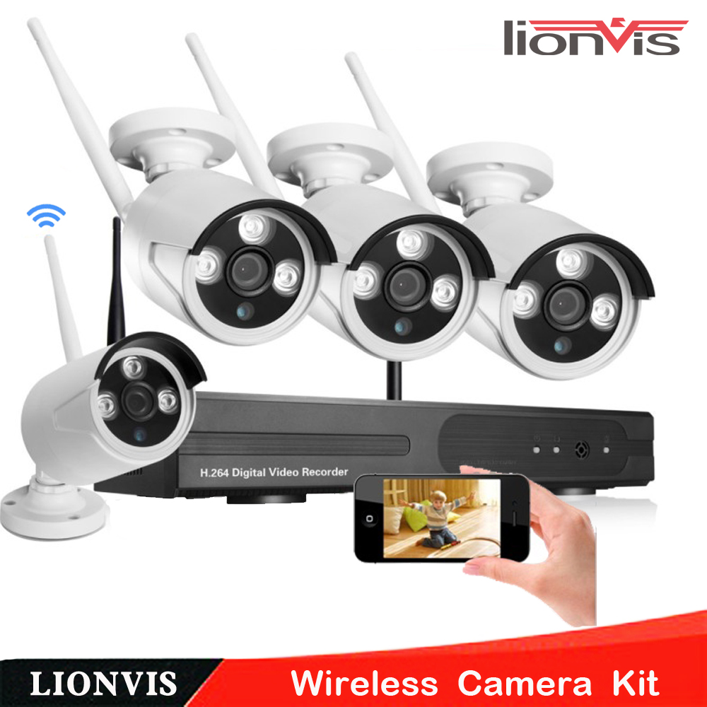 4ch wireless camera cctv system 720p hd nvr kit outdoor ir night ip camera wifi camera security. Black Bedroom Furniture Sets. Home Design Ideas