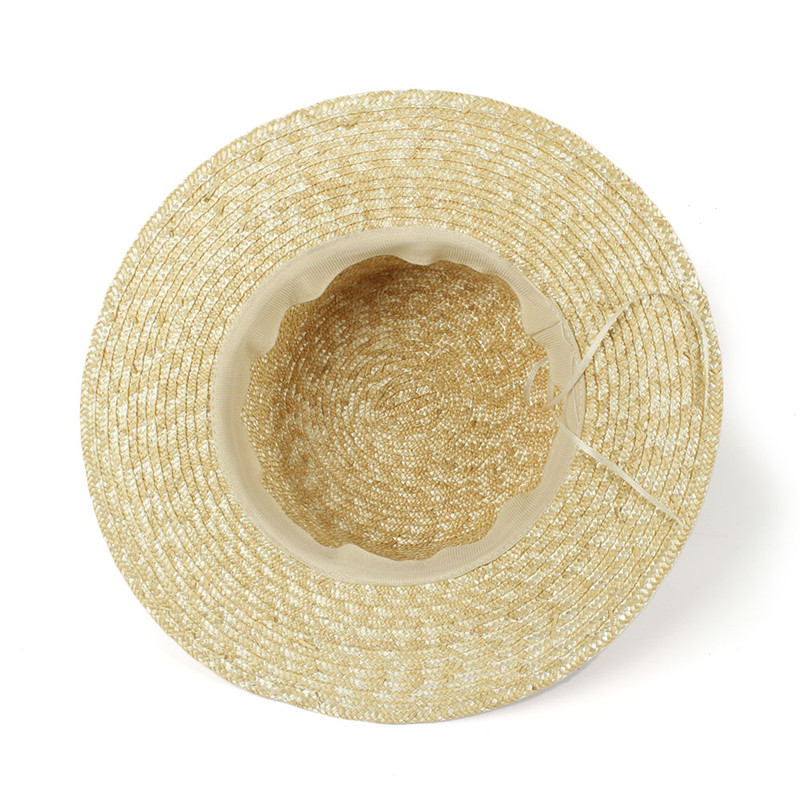 bc65e029547 Nature Wheat Straw Women Summer Sun Hat Lady Beach Wide Brim Flat ...