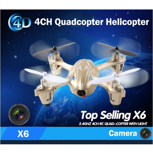Superior X6 Quadcopter 4CH 2.4 GHZ RC Control remoto eléctrico avión no tripulado helicóptero con la cámara del giróscopo grabación PK Hubsan X4 H107C