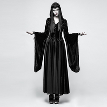 PUNK RAVE Women Gothic Witch Vampire Hooded Dresses Steampunk Cosplay Stage Dress Velvet Hoodie Goddess Long