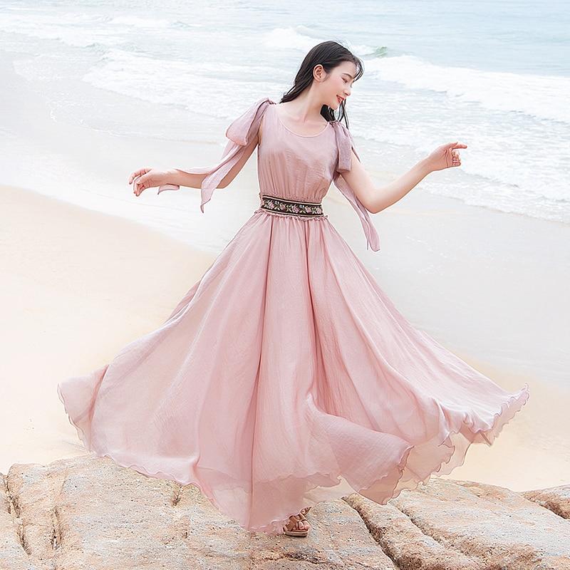 شحن مجاني Boshow 2019 جديد البوهيمي المرأة طويل ماكسي أكمام الصيف S L الشيفون كبيرة تنحنح الوردي التطريز مرونة الخصر اللباس-في فساتين من ملابس نسائية على  مجموعة 1