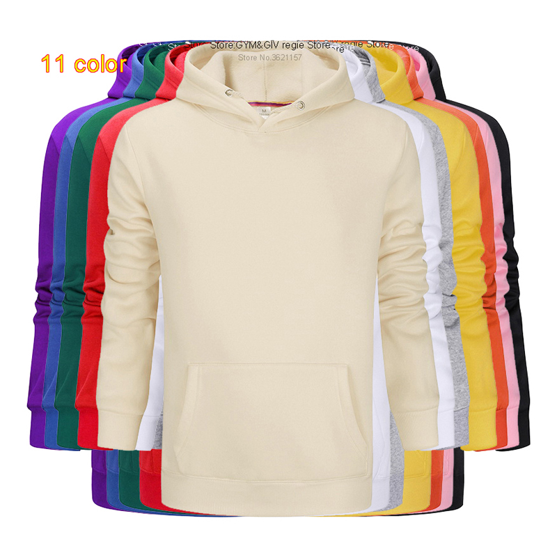 Asian Size Fashion Colorful Hoodies Men's Clothes Winter Sweatshirts Men Hip Hop Streetwear Solid Fleece Man Hoody