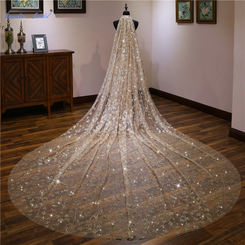 Sapphire Bridal New Top Quality 4m Gold Sequin Wedding Veil Long Velo De Novia 1 Tier Cut Edge Bridal Veil Bridal Accessories