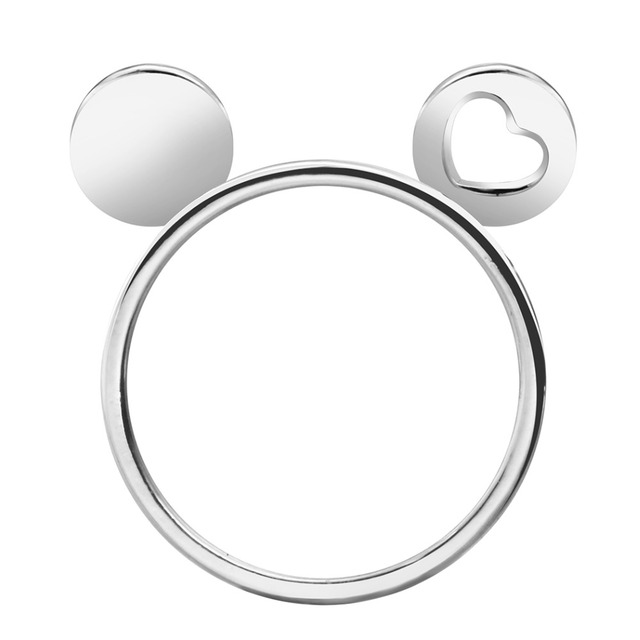 Cxwind Cute Gold Silver Mickey Heart Ears Ring Mouse Knuckle Ring Anel...