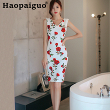 Plus Size Print Floral Summer Dress 2019 Sleeveless Tank Sheath Flower White Dress for Ladies Corset Bodycon Wrap Midi Dress floral print halter sheath dress