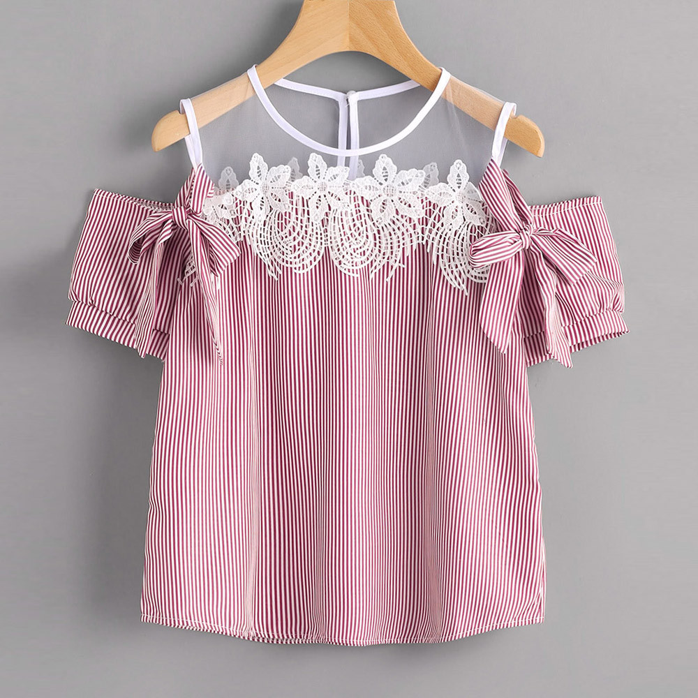 KANCOOLD tops high quality girl Short Sleeve Off Shoulder Lace Striped Casual T-Shirt summer tops for women 2018 ap27