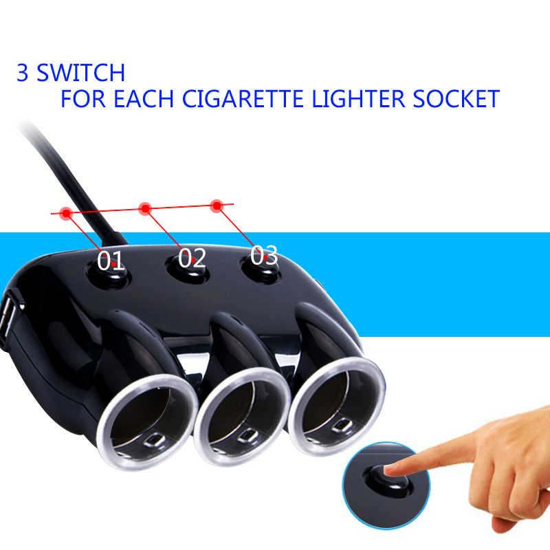 Dual USB Port 3 Way 3.1A Blue Led Car Cigarette Lighter Socket Splitter Hub Power Adapter 12V-24V For iPad Smartphone DVR GPS