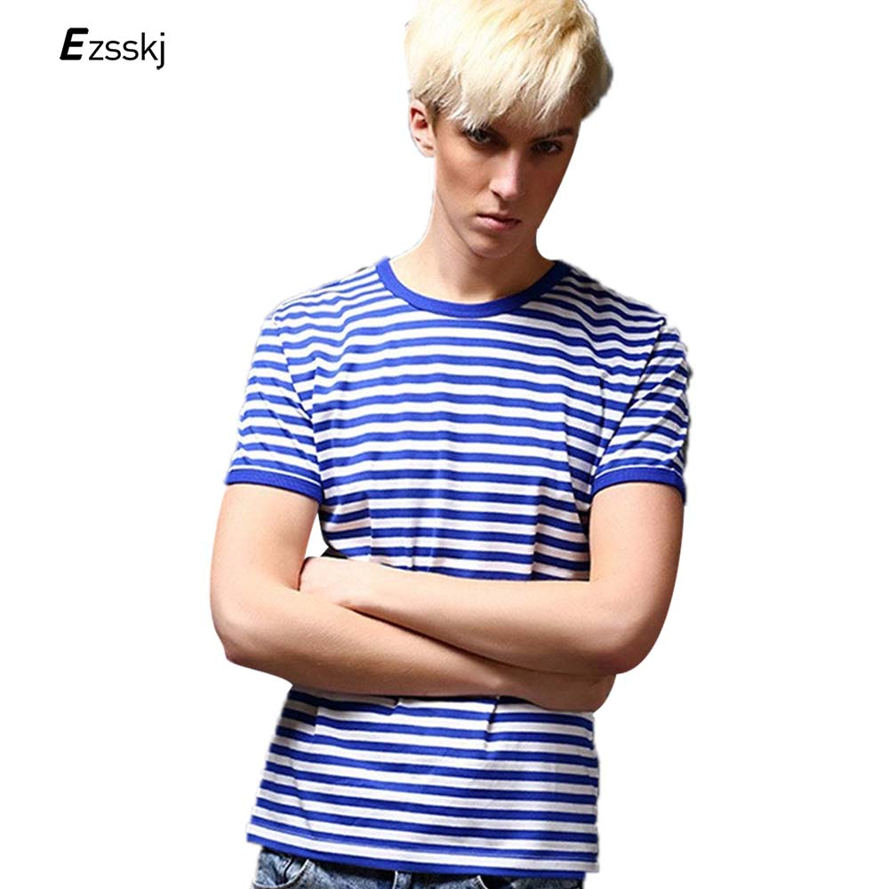 Sea striped t shirts men summer fashion s short