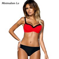 Minimalism Le Sexy Lace Patchwork Low Waist Bikini Summer Swimwear Solid Swimsuit Bathing Suit Biquini 2017