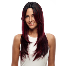 FREEDOM Heat Resistant Synthetic Wigs For Women Natural Long Straight 24″ Ombre Hair Black Brown Lace Front 150% Heavy Density