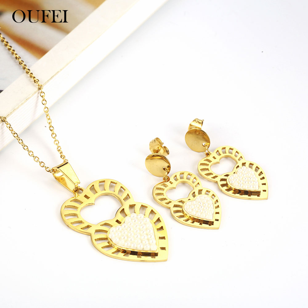 OUFEI Stainless Steel <font><b>Jewelry</b></font> Woman Vogue <font><b>2019</b></font> Bohemian Earring Necklace <font><b>Set</b></font> Heart <font><b>Jewelry</b></font> Accessories Gifts <font><b>For</b></font> Women image