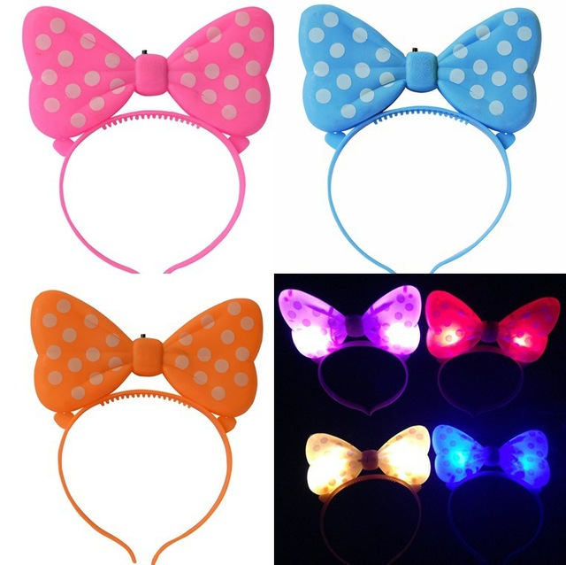 Novedad chicas Minnie Mouse Cool Light Up Led lazos diademas fiesta ...