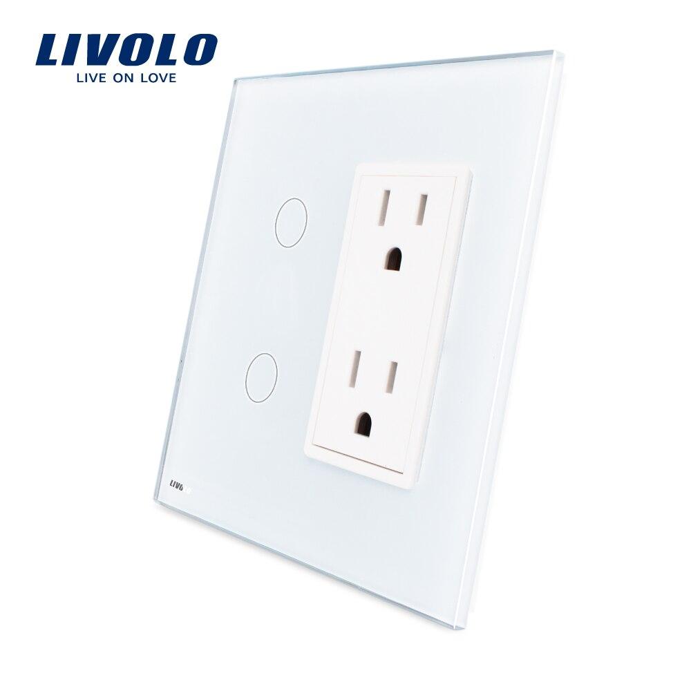 Livolo US Standard Vertical Luxury White Crystal Glass 2Gang US Socket 15A VL C502 11 VL