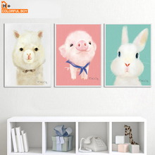 Rabbit Pig Alpaca Nursery Cartoon Wall Art Canvas Painting Nordic Posters And Prints Wall Pictures Girl Boy Baby Kids Room Decor картридж hi black cartridge 991531350