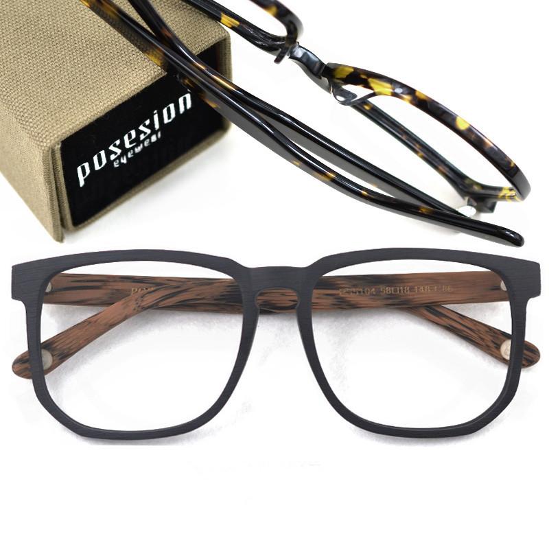 Image 2 - Posesion Square Acetata Large Men Eyeglasses Frames Vintage Wooden Big Face Women Myopic Optical Glasses Clear Lens Eyewear-in Men's Eyewear Frames from Apparel Accessories