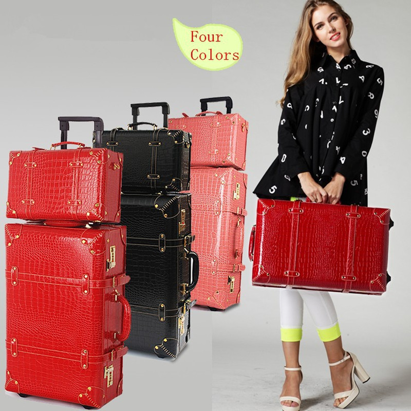 Korea Retro 14 22 24 women travel luggage bags sets,high quality pu leather suitcase box on wheels with rods,girl fashion bags