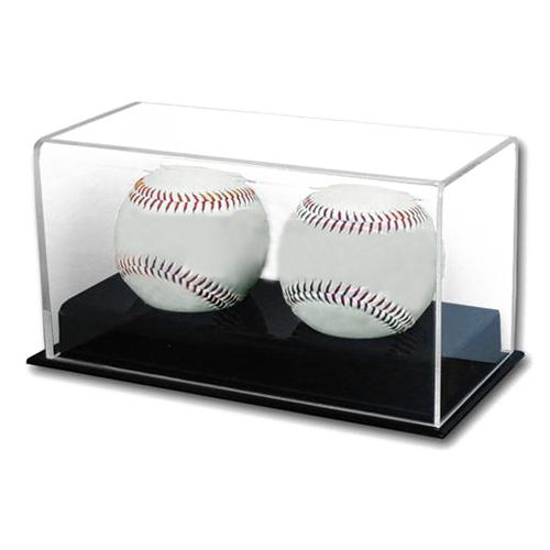 Deluxe Acrylic Double Baseball Holder Display - Sports Memorabilia Display Case - Sports Collecting Supplies