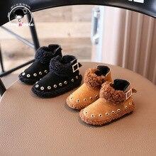 Новинка 2017 года зимняя детская мода Сапоги и ботинки для девочек оптовая продажа зимние хлопчатобумажные сапоги замши Дети Сапоги и ботинки для девочек 21-25