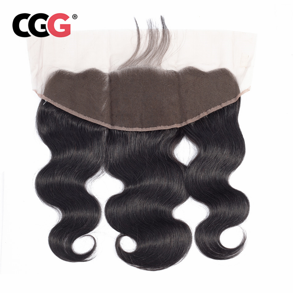 CGG 13X4 Lace Frontal Body Wave Human Hair Malaysian Non Remy Human Hair Weaves Natural Color